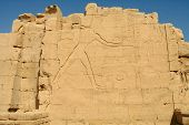 Amon-Ra and symbols on the wall in Temple of Karnak, Egypt.