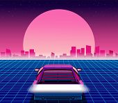 Retro Future. 80s Style Sci-fi Background With Supercar. Futuristic Retro Car. Vector Retro Futurist poster