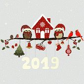 Greeting Card With Christmas Owls On Branch And Christmas Elements poster