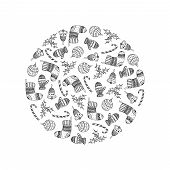 Vector Decorative Round From Christmas Symbols - Candy Cane, Tree Ball, Mitten, Sock, Holly, Christm poster