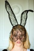 Girl Wearing Bunny Ears On Easter Day. Fashion Portrait Of Beautiful Sensual Woman And Looks Very Se poster