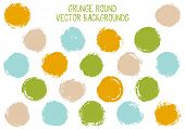 Vector Grunge Circles Design. Dirty Post Stamp Texture Circle Scratched Label Backgrounds. Circular  poster