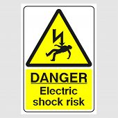 Plate: danger. Electric Shock Risk. Sign: danger. Electric Shock Risk On A Gray Background poster