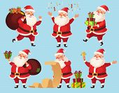 Christmas Santa Cartoon Character. Funny Santa Claus With Xmas Presents, Winter Holiday Characters V poster