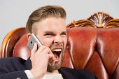 Angry Boss. Man Well Groomed Shout Aggressively Mobile Phone Grey Background. Businessman Angry Call poster