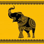 Vector Ethnic Elephant. Hand Drawn Ornate Elephant. Isolated Vector Illustration. Ideal Ethnic Backg poster