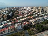 Aerial Panorama Photo Rooftop Suburban Houses With Similar Shape In Miromar Residential Area Of La M poster