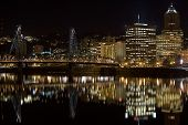 stock photo of portland oregon  - Night scene of Hawthorne Bridge and Downtown Portland Oregon - JPG