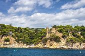 Beautiful View On Castell Den Plaja From Seaside In Lloret De Mar, Costa Brava, Spain. Sunny Summer poster