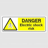 Plate: danger. Electric Shock Risk (panoramic Sign). Sign: danger. Electric Shock Risk (panorami poster