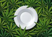 Cannabis Food And Weed Edibles Or Marijuana Edible Snack With A Dinner Plate On Leaves Representing  poster