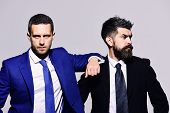 Business, Confidence And Teamwork Concept. Businessmen With Confident Faces poster