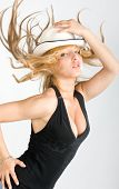 Beautiful fashion woman portrait with white hat