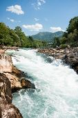 Turbulent rafting water of Neretva river, Bosnia and Herzegovina