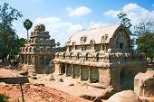 Five Rathas temple is a fine example of Pallava architeture, Mamallapuram, Tamil Nadu , India