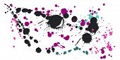 Watercolor Stains Grunge Background Vector. Rusty Ink Splatter, Spray Blots, Dirty Spot Elements, Wa poster