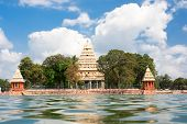 picture of meenakshi  - Mariamman Teppakkulam tank with Meenakshi Temple is site of Teppam  - JPG