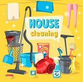 House Cleaning Services, Tools For Keeping Home Clean. Vector Vacum Cleaner And Basket, Brushes And  poster