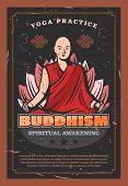 Buddhism Religion, Monk And Lotus Flower. Spiritual Awakening And Yoga Practice. Endless Knot, Stars poster