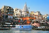 VARANASI, INDIA - 13 FEBRUARY:  Puja, religious ceremony, on the banks of Ganga river, Prayag Ghat i
