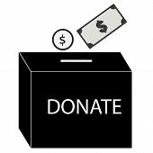 Donate, Money, Icon, Donation, Vector, Charity, Symbol, Box, Give, Illustration, Giving, Line, Coin, poster