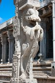 stock photo of meenakshi  - Stone sculptures on pillar in Sri Meenakshi hindu temple in Madurai - JPG
