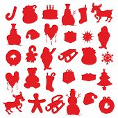 isolated Christmas items silhouettes