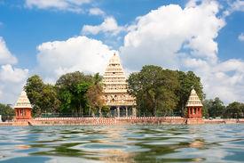 stock photo of meenakshi  - Mariamman Teppakkulam tank with Meenakshi Temple is site of Teppam  - JPG
