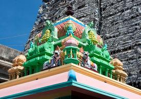picture of meenakshi  - Roof of Sri Meenakshi hindu temple in Madurai - JPG