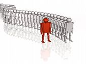 foto of customary  - Grey and red robots on white reflective background - JPG