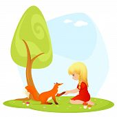 illustration for children - a cute blonde girl meeting a friendly fox
