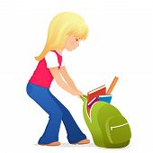 illustration of a cute blonde girl with a bit heavy schoolbag