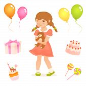 set of cute illustrations for kids with birthday party theme