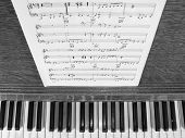 Piano With Music In Black And White