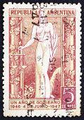 Selo postal Argentina 1947 Justiça, alegoria