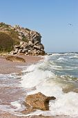 stock photo of azov  - stormy weather on the summer azov sea - JPG