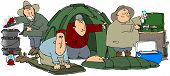 stock photo of dutch oven  - This illustration depicts five men camping doing different things - JPG