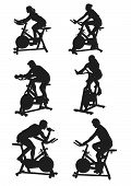 stock photo of exercise bike  - vector drawing silhouettes of men and women on bike - JPG