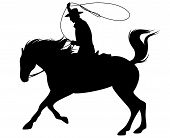 picture of wrangler  - cowboy riding a horse and throwing lasso fine vector silhouette  - JPG