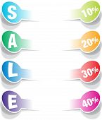 SALE realistic paper stickers design elements