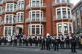 Police Watch The Julian Assange Protest Outside The Ecuadorian Embassy In London 19Th August 2012