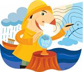 A Man In A Rain Gear Using A Crystal Ball To Predict Weather As His Boat Is Being Rained On In The B