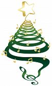 picture of christmas song  - A musical Christmas tree with treble clef notes and star - JPG