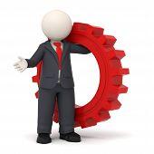 Постер, плакат: 3D деловой человек держащий красный Gear