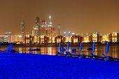 Night Illumination Of The Luxury Hotel Beach On Palm Jumeirah Man-made Island, Dubai, Uae