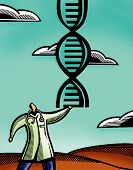 pic of double helix  - Doctor holding a pair of DNA double helix - JPG