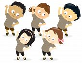 stock photo of obese children  - Illustration of kids having fun while exercising - JPG
