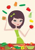 Pretty Girl Prepares Salad And Juggles With Vegetables