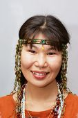 foto of chukotka  - Beautiful chukchi woman in the folk dress - JPG