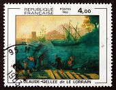 Postage Stamp France 1982 Embarkation For Ostia By Claude Gellee